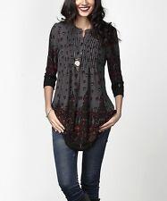 #491 Ladies Designer Size UK 20 Charcoal Border Pin-Tuck Tunic Dress rrp $34.99