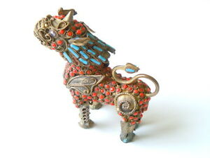 Old Dragon Figure Bottle Brass Coral & Turquoise 1.3oz/2 13/16x2 11/16x0 7/