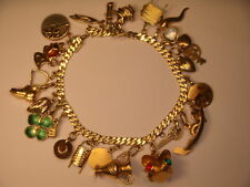 Antique 14K 18K Rose Yellow Gold Lipstick Coin Leo Miniature Charm Bracelet