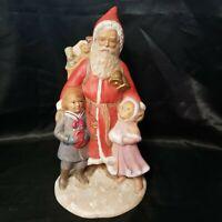 Hand Painted Ceramic Santa Victorian Children