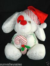 Fisher Price Red White Green Puffalump Puppy Dog Candy Cane Santa Hat
