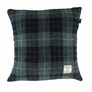 Authentic Harris Tweed Square Cushion Black Checked LB4002 COL 95 - MADE IN UK