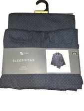New Tu Man Mens Sleepwear Pure Cotton Pyjama Set Size XL Navy Blue Spotted