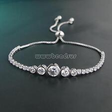 Silver Plated Women CZ Rhinestone Crystal Adjustable Bracelet Chain Jewelry