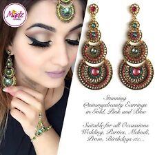 INDIAN Bollywood Oro Cristallo Goccia Dangle Orecchini Lampadario da sposa Rosa Blu