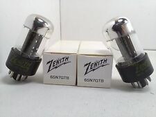 GREAT PAIR ZENITH 6SN7GTB Chrome Dome VACUUM TUBES Tested STRONG #2.3134
