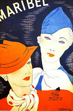 Franco 1935 TWO FASHIONABLE LADIES in SMALL HATS Spanish Art Deco Cover Matted