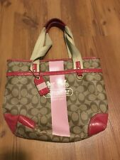 Coach Leatherware Signature Stripe Heritage Tote Shoulder Bag 11350
