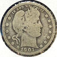1901 25C Barber Quarter (58390)