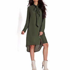 Womens Bow Tie T Shirts Shift Dress Casual Long Sleeve Chiffon Blouse Plus Size