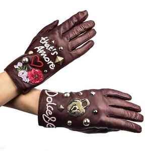 Dolce & Gabbana Amore Leather Gloves Studs Rose Heart Lock Burgundy 07557