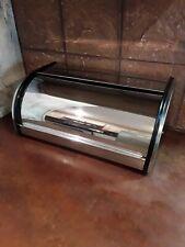 Vintage Stainless Steel Roll Top Bread Box Kitchen Food Storage