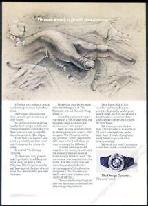 1970 Omega Dynamic blue steel watch photo vintage print ad