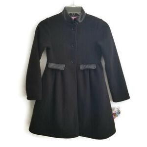NEW Copper Key Girls 7-8 Black Dress Coat Faux Leather Trim