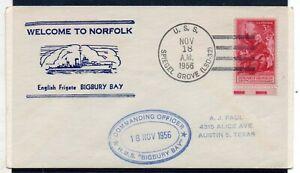 USA = 1956 `Welcome to Norfolk` English Frigate BIGBURY BAY USS Cancel & Cachet.
