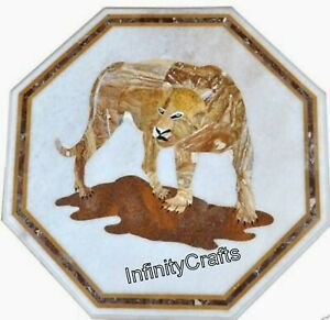 24 Inches Marble Coffee Table Top Inlay Tiger Pattern Sofa Table for Living Room
