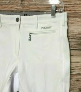 NWT Women's Pikeur Lugana Stretch Full Seat Breeches Breech Size 30L - WHITE