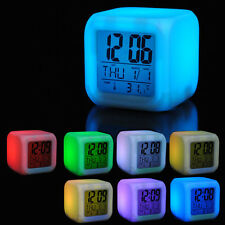 New 7 Colour Changing LED Digital Alarm Clock Thermometer Date Glow Night