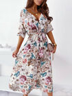 Boho Womens Summer Midi Dress Ladies Printed Short Sleeve Casual Holiday Dress