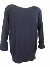 Chicos 1 Womens Black Cotton Blend Sweater Boat Neck 3/4 Sleeve Size Medium 8