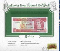 World Banknotes Barbados 1973 1 Dollar UNC P 29a Prefix F Birthday 9920040
