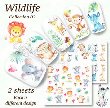 Cute Animals Nail Decals, Water Stickers, Giraffes, Lions, Monkeys, Owls A1253