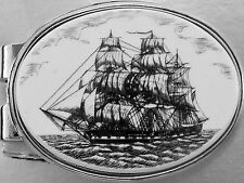 Money Clip Oval Barlow Scrimshaw Constitution Sailing Ship Old Ironsides 539203