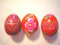 NEW Set of 3 Vintage Hand Painted Wooden Wood Egg Polish Pysanky appprox.2""