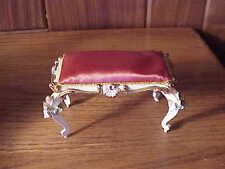 Vintage Spielwaren Boutique Szalasi Rococo Doll Furniture - Fancy Gold/Wht Bench