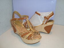 Marc Fisher Obetter New Womens Medium Brown Leather Wedge Sandals Shoes 6 Medium