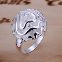 925 Sterling Silver Filled Solid Flower Ring Size 6 -10 Engagement Wedding Ring