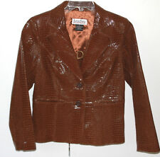 Bradley Bayou100% Leather Jacket Sz S Brown Embossed Faux Crocodile Finish
