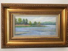 Vintage Signed Framed Original Landscape Pastel Painting Charles Nowell 11 X 17