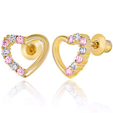 Clear & Pink Crystal CZ Heart Gold Over 18k Baby Children Screw Back Earrings