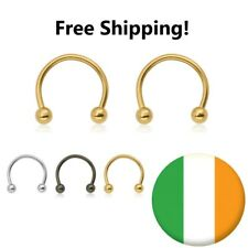 Barbell Lip Nose Ring Circular Septum Horseshoe ear 16g Silver/Gold 6/8/10/12mm