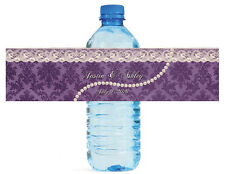100 Pearls and Lace Wedding anniversary Engagement Party Water Bottle Labels