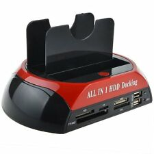 "2.5""3.5"" Dual Slots USB 3.0 SATA IDE HDD ALL IN 1 Docking Station Card Reader"