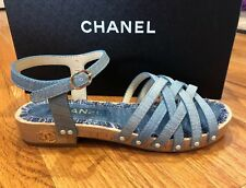 CHANEL 18C Wood Platform Blue Fantasy Leather Pearl Studs Sandals Shoes 37 7 New