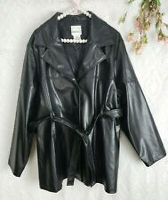 Womens Jacket Size 2X 20 Black Faux Leather Black Belted Stretch Lightweight