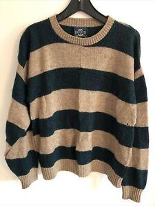Vtg JANTZEN Mens 90s Sz M Striped Crewneck Kurt Cobain Grunge Sweater