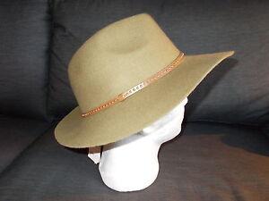 M&S Pure Wool Studded Braid Fedora Style Hat M/L Khaki BNWT