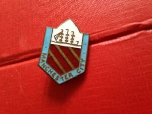 Rare Vintage Football Enamel Badge Manchester City Shield