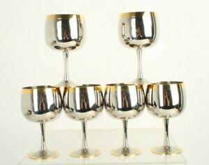 6  Zepter Stainless Steel 18/10 Wine Glasses / Goblets 24 K Gold Plated