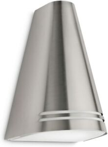 Philips Outdoor Energy-Saving Outdoor Wall Stainless Stell Light, 15 W, White