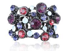Cute Dark Gunmetal Purple Tones & Stones Cluster Rhinestone Fashion Ring Jewelry