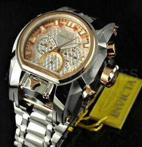 Invicta 52mm Bolt Zeus Magnum DUAL TIME White Chrono HIGH SILVER POLISH Watch