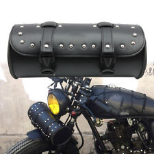 Motorcycle Cruiser Biker Leather Tool Bag Pouch Roll Barrel Shape Handlebar Bag