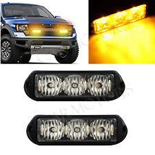 2x 3W Waterproof 3 LED Car Truck Strobe Emergency Warning Light DC 12V 24V Amber