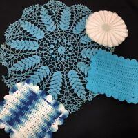 Vintage Handmade Crocheted Doilies Potholders Lot of 4 Turquoise Aqua Blue 8-24""