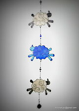 Sheep on a string suncatcher garden mobile window or ceiling decor Knitters gift